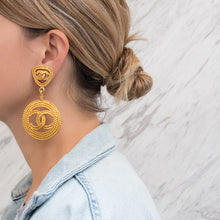Load image into Gallery viewer, Chanel Vintage Signed Jumbo Rope Gold Tone CC Statement Earrings