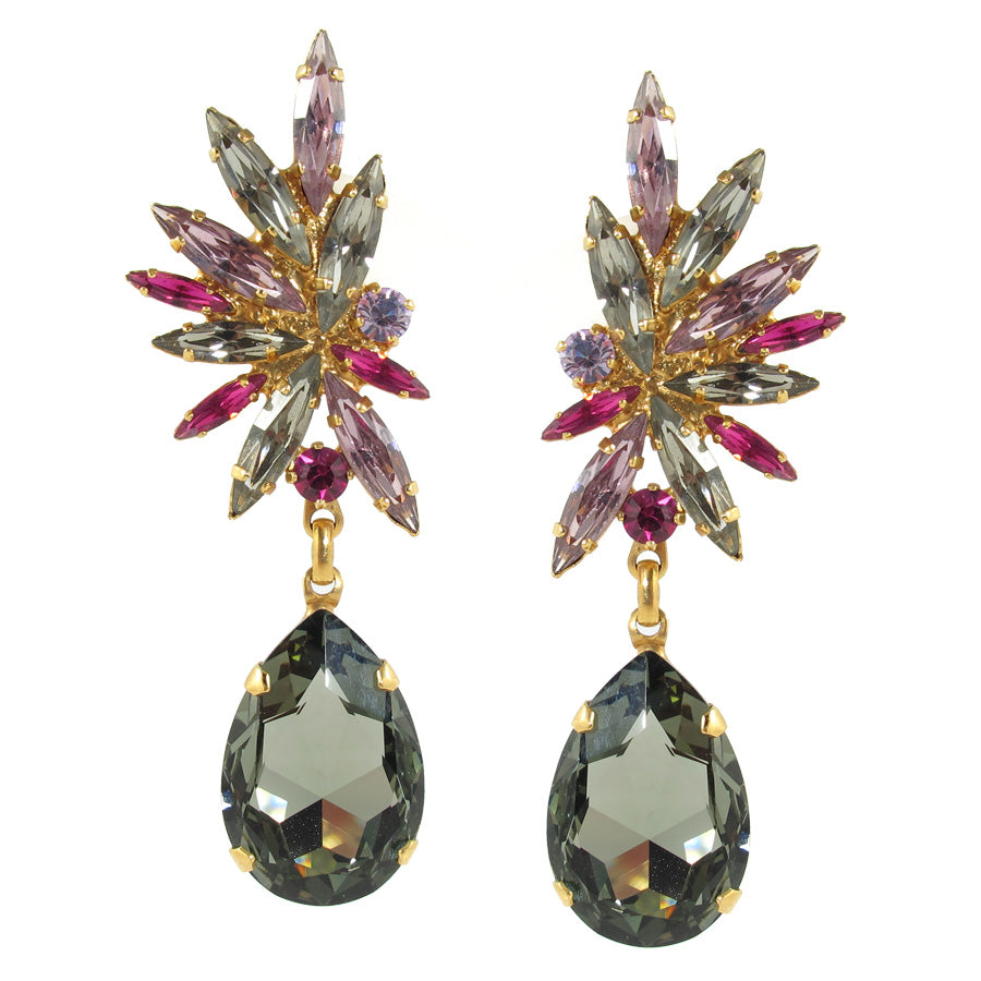 Harlequin Market Statement Austrian Crystal Earrings - Black Diamond and Light Rose