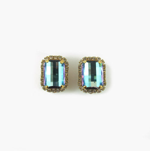 Harlequin Market Aquamarine Multi Faceted Crystal Earrings