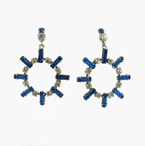 Harlequin Market Sapphire - Clear Crystal Earrings