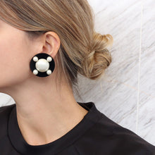 Load image into Gallery viewer, Signed 'Chanel' Classic Black and Faux Pearl Earrings c. 1980's - (Clip-On Earrings)