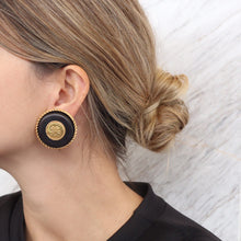 Load image into Gallery viewer, Vintage Chanel Gold Tone & Black Stone Clover Earrings c. 1980