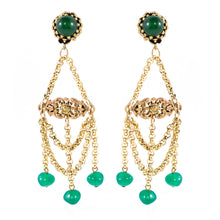 Load image into Gallery viewer, Vintage Earring Unsigned Gold Tone and Bead Chandelier Earrings