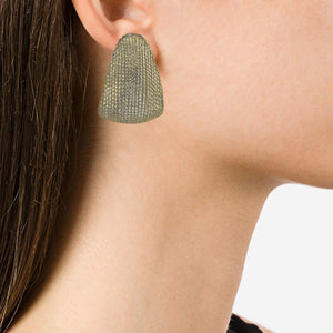 USA Vintage Unsigned Silver Tone Textured Earrings (Clip-On)