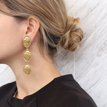 Load image into Gallery viewer, Chanel Vintage Signed Gold Tone Oval Coin Drop Earrings - Collection 26