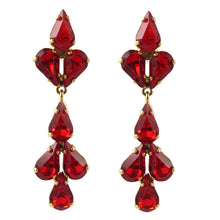 Load image into Gallery viewer, Harlequin Market Austrian Crystal Tear Drop Earrings - Hyacinth Red - Gold (Pierced)