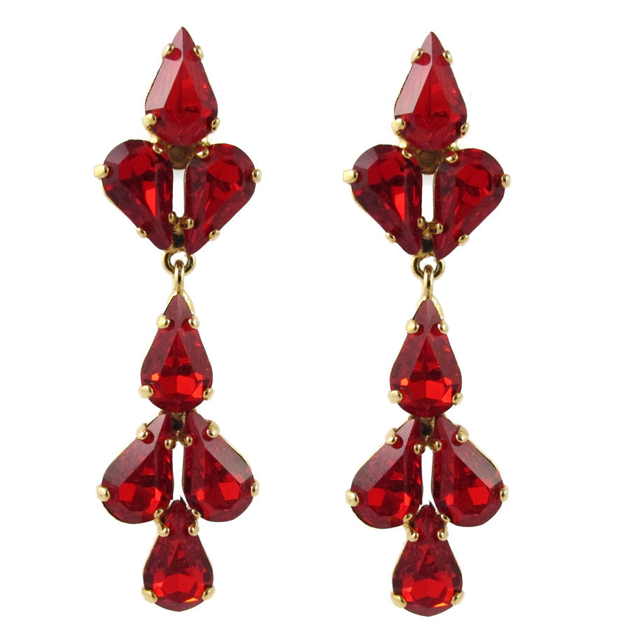 Harlequin Market Austrian Crystal Tear Drop Earrings - Hyacinth Red - Gold (Pierced)