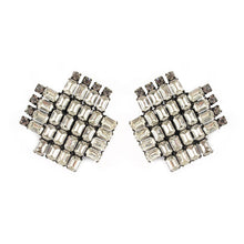 Load image into Gallery viewer, French Vintage cross shaped crystal clip-on earrings c. 1950's- (Clip-On Earrings)