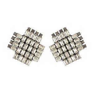 French Vintage cross shaped crystal clip-on earrings c. 1950's- (Clip-On Earrings)