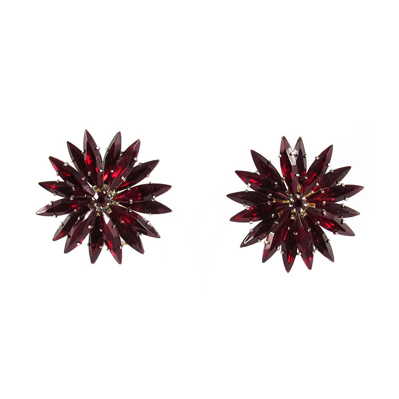 French Vintage colourful red crystal starbust earrings c. 1950's