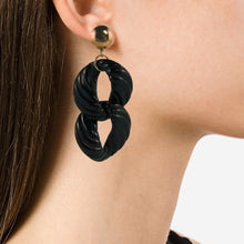 Load image into Gallery viewer, Vintage Black Textured Acrylic Double Drop Earrings c. 1990 (Clip-on)