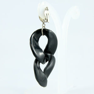 Vintage Black Textured Acrylic Double Drop Earrings c. 1990 (Clip-on)