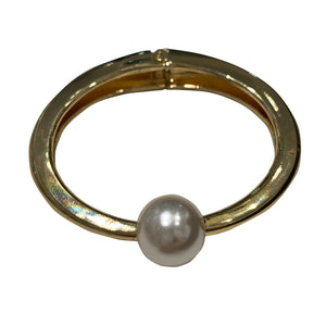 Faux Pearl & Gold Tone Clamper Bangle