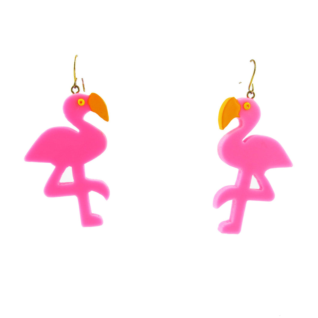 HQM Contemporary Acrylic Pop Art Pink Flamingo Earrings