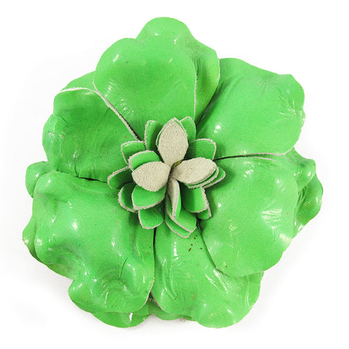 Harlequin Market Fabric Flower Brooch - Lime Green