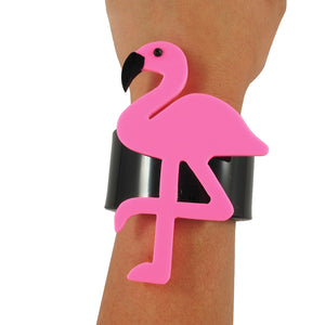 HQM Contemporary Acrylic Pop Art Flamingo Cuff