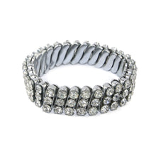 Load image into Gallery viewer, German Unsigned Vintage Multi Row Crystal Stretch Bracelet c. 1940-1950s