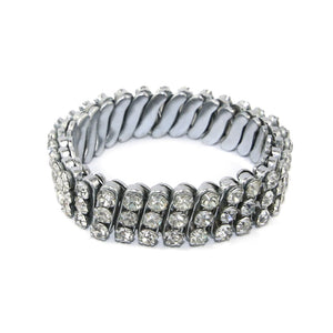German Unsigned Vintage Multi Row Crystal Stretch Bracelet c. 1940-1950s