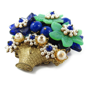 Signed vintage Stanley Hagler blue & green flower bouquet brooch c. 1960