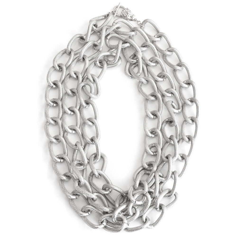 Harlequin Market Chunky Silver Tone Long Chain Necklace
