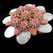 Load image into Gallery viewer, Signed Stanley Hagler pink flower brooch c. 1960