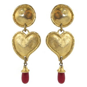 French Vintage Signed 'Edouard Rambaud Paris' Heart Earrings c.1980