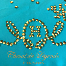 Load image into Gallery viewer, Hermes Silk Scarf 90 Cm - Cheval De Legende by Benoit Pierre Emery - Aqua & Gold c. 2010-11