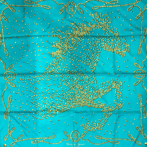 Hermes Silk Scarf 90 Cm - Cheval De Legende by Benoit Pierre Emery - Aqua & Gold c. 2010-11