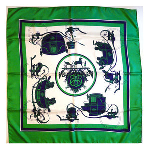 Vintage Hermes Silk Scarf Ex Libris Blue and Green