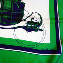 Load image into Gallery viewer, Vintage Hermes Silk Scarf Ex Libris Blue and Green