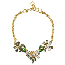 Load image into Gallery viewer, Christian Lacroix Floral Bee Green Clear Grey Crystal Choker Necklace c.1990s
