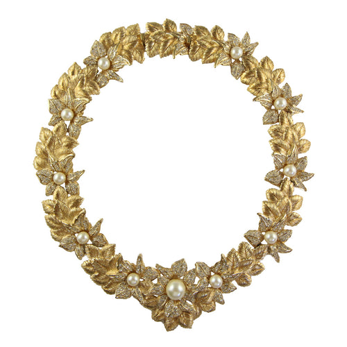 Stunning Vintage Christian Dior Decadent Floral Gold Tone Collar Necklace c.1980s