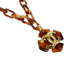 Load image into Gallery viewer, Vintage Chanel Faux Tortoiseshell Large Floral 'CC' Charm Pendant Necklace c.1980s