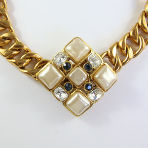 Spectacular Vintage Faux Pearl & Gold Tone Chanel Pendant Necklace c.1980s