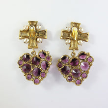 Load image into Gallery viewer, Vintage Christian Lacroix Purple Heart Cross Earrings (Clip-on)