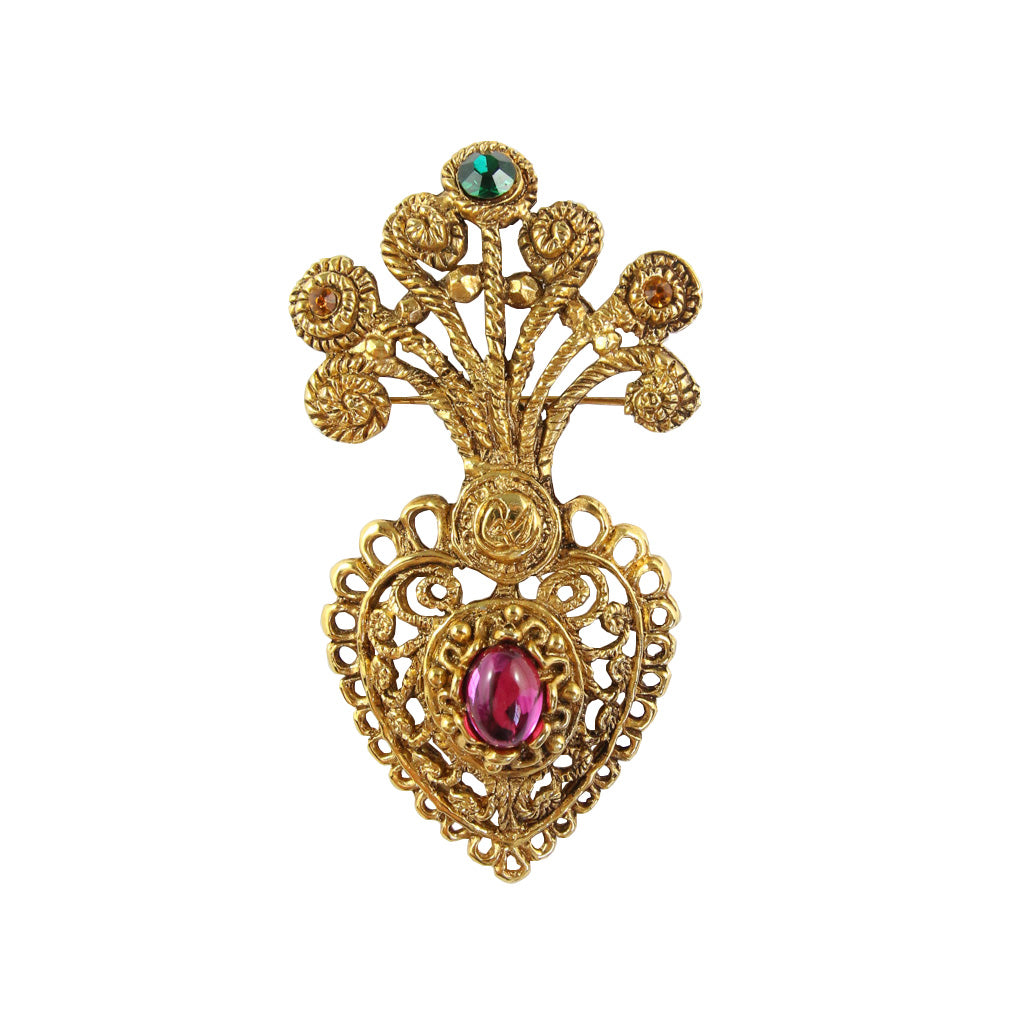 Statement Vintage Christian Lacroix Heart Pink & Green Brooch c.1980s