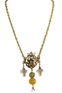 Christian Lacroix Vintage Long Cross Pendant Necklace c.1980s