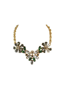 Christian Lacroix Floral Bee Green Clear Grey Crystal Choker Necklace c.1990s