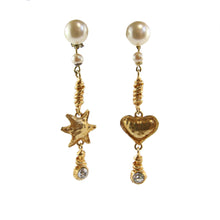 Load image into Gallery viewer, Vintage Christian Lacroix Gold Tone, Clear Crystal & Faux Pearl Heart & Star Drop Earrings (Clip-On)