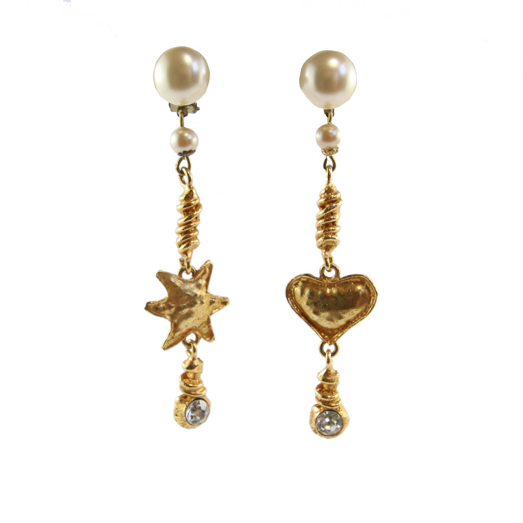 Vintage Christian Lacroix Gold Tone, Clear Crystal & Faux Pearl Heart & Star Drop Earrings (Clip-On)