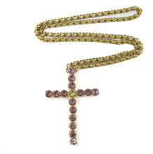 Load image into Gallery viewer, Harlequin Market Crystal Cross Necklace
