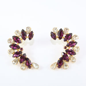 HQM Austrian Amethyst & Clear Crystal Cuff Earrings (Pierced)