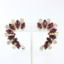 Load image into Gallery viewer, HQM Austrian Amethyst & Clear Crystal Cuff Earrings (Pierced)