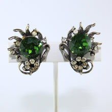 Load image into Gallery viewer, HQM Austrian Vintage Green & Clear Crystal Claw Earrings (Clip-On)