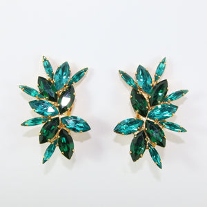 HQM Austrian Emerald & Blue Zircon Multi Spiked Earrings (Clip-On)
