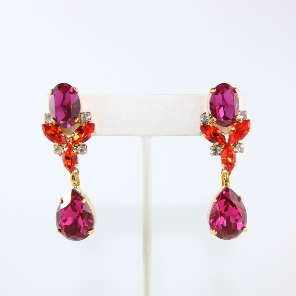 HQM Austrian Fuschia, Hyacinth & Clear Crystal Drop Earrings (Pierced)