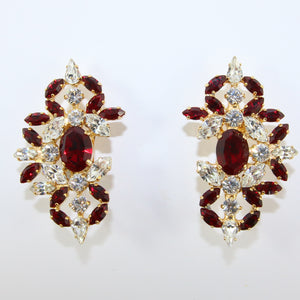 HQM Austrian Ruby & Clear Crystal Intricate Earrings (Clip-On)