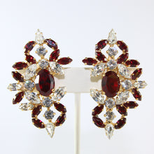 Load image into Gallery viewer, HQM Austrian Ruby & Clear Crystal Intricate Earrings (Clip-On)
