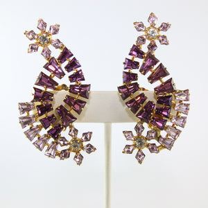 HQM Austrian Amethyst & Light Amethyst Cross Over Climber Daisy Earrings (Clip-On)