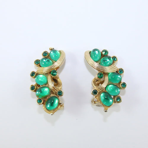 HQM Vintage Emerald Green & Silver Tone Signed 'Barcs' Earrings (Clip-On)